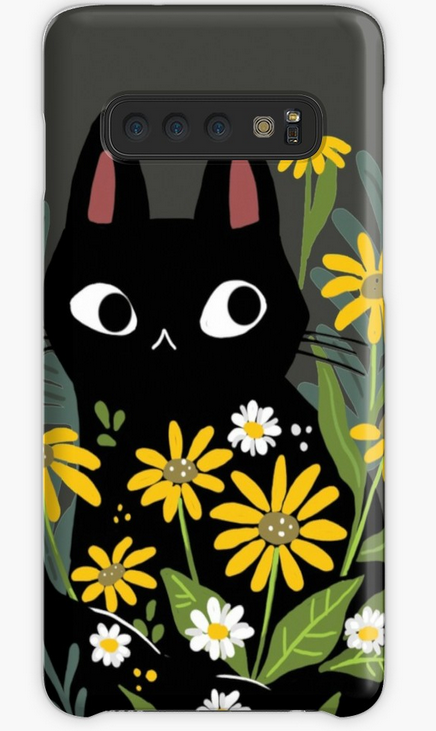 black cat with flowers phone case